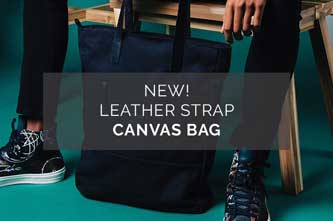New! Leather Strap Canvas Bag